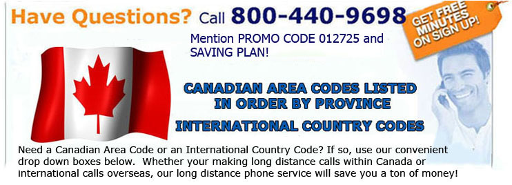 Canadian country codesCanada country codesCanadian area code